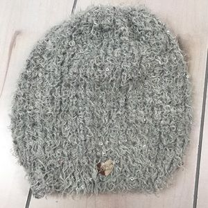 Betsy Johnson Gray Sparkly Sequined Beanie Hat